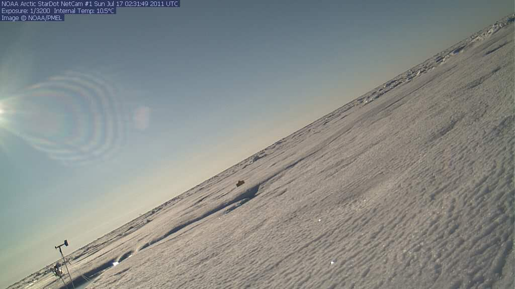 North Pole Cam 1 seems to be tipping over, possibly due to melt around its base.