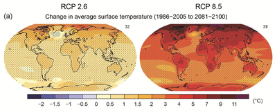 IPCC AR5 WGI Change in average surface temperature 1986-2005 2081-2100
