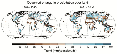 IPCC AR5 WGI Observed change in precipitation over land 1901-2010